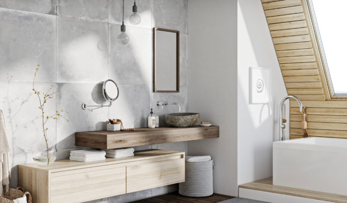 Badkamermeubel hout met waskom